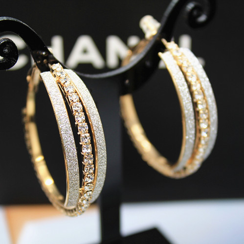Designer Gold Hoop Earrings Gilt Rond With Crystal Stones Fashion Luxury Party For