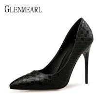 цена Women Shoes High Heels Pointed Toe Woman Pumps Sexy Lattice Party Shoes Spring Slip On Office Ladies Shoes Dress Plus Size DE онлайн в 2017 году
