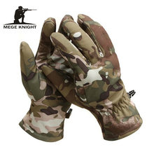 MEGE Tactical Shark Skin Soft Shell Camouflage Gloves, Winter Unisex Warm Waterproof Windproof Fleece Floves(China)