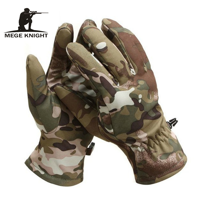 MEGE Tactical Shark Skin Soft Shell Camouflage Gloves,  Winter Unisex Warm Waterproof Windproof Fleece Floves