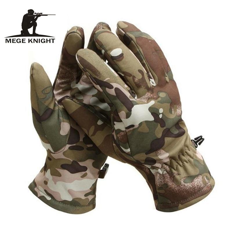 MEGE Tactical Shark Skin Soft Shell Camouflage Gloves Winter Unisex Warm Waterproof Windproof Fleece Floves
