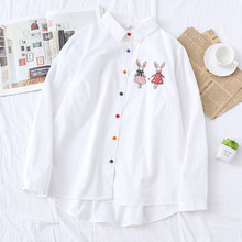 Japanese Kawaii Animal Bunny Women Shirts Cute Rabbit Long Sleeve Ladies Tops Lolita Preppy Button Down White Casual Blouses