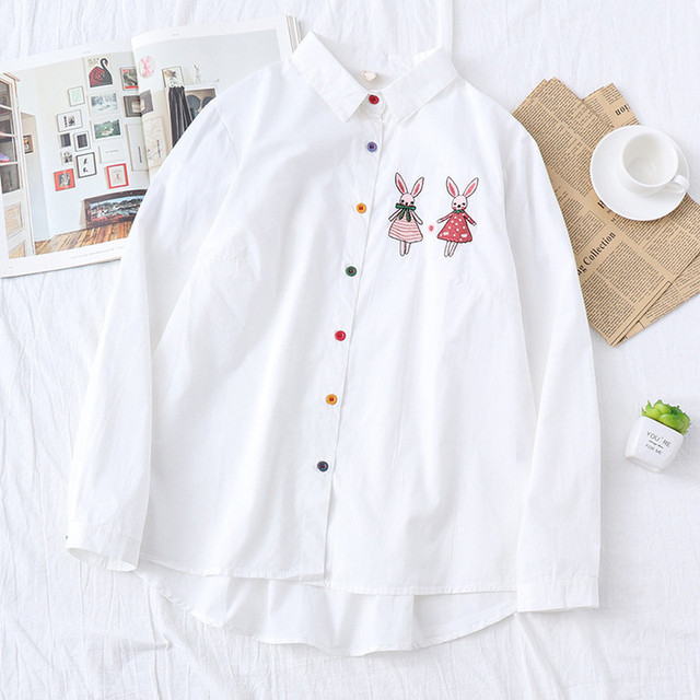 Japanese Kawaii Animal Bunny Women Shirts Cute Rabbit Long Sleeve Ladies Tops Lolita Preppy Button Down White Casual Blouses