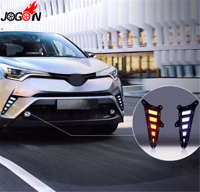 White Yellow DRL For Toyota C HR CHR 2016 2018 Car Front LED