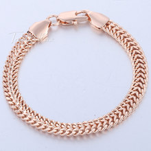 585 Gold Filled Bracelet For Womens Chain Helix Bismark Link 7mm 18cm 20cm 23cm 25cm GB283(China)