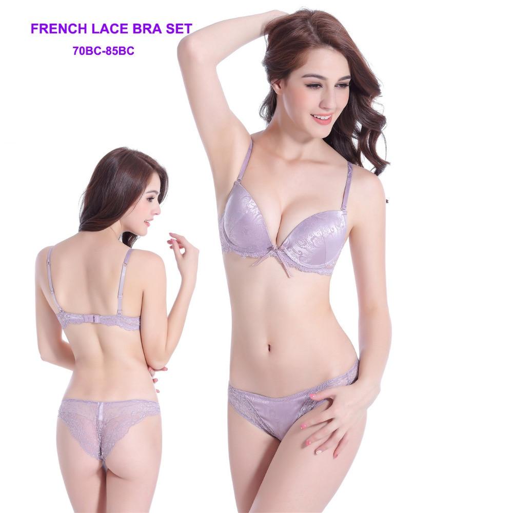 f570ae9d82eb Women Sexy Bra Set Push Up Satin Transparent Lace VS Silk Intimates ...