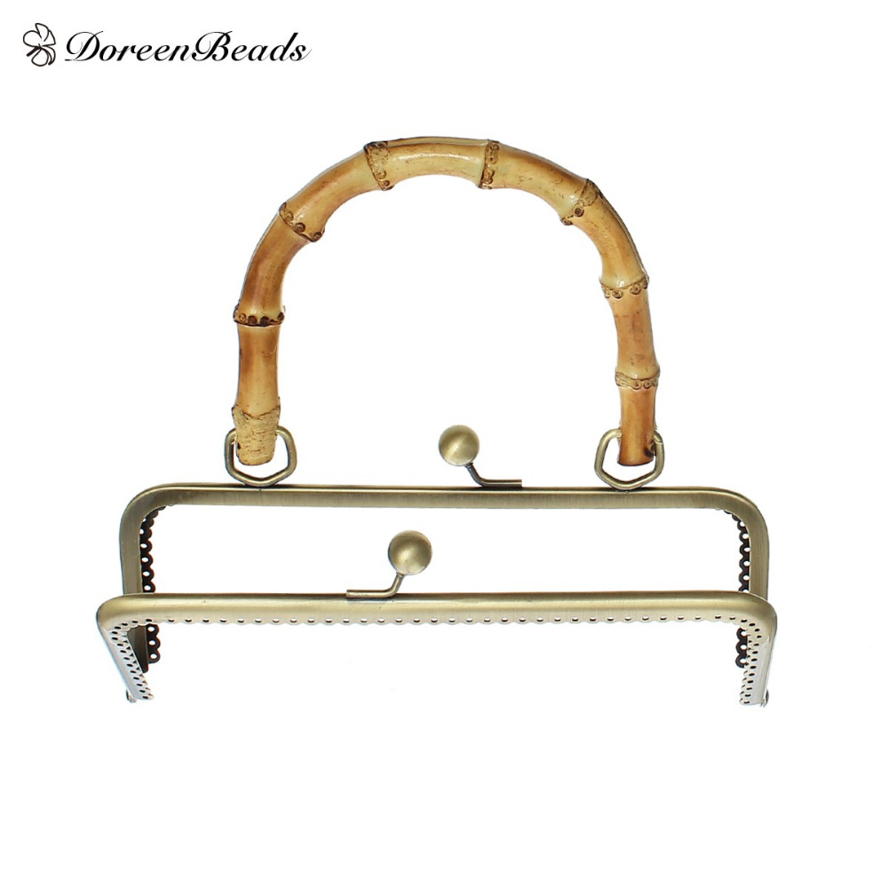 DoreenBeads Metal Frame Kiss Clasp Rectangle For Purse Bag Antique Bronze Bamboo Handle(Open Size:27.8x20.1cm)20.1x18.5cm,1 PcDoreenBeads Metal Frame Kiss Clasp Rectangle For Purse Bag Antique Bronze Bamboo Handle(Open Size:27.8x20.1cm)20.1x18.5cm,1 Pc