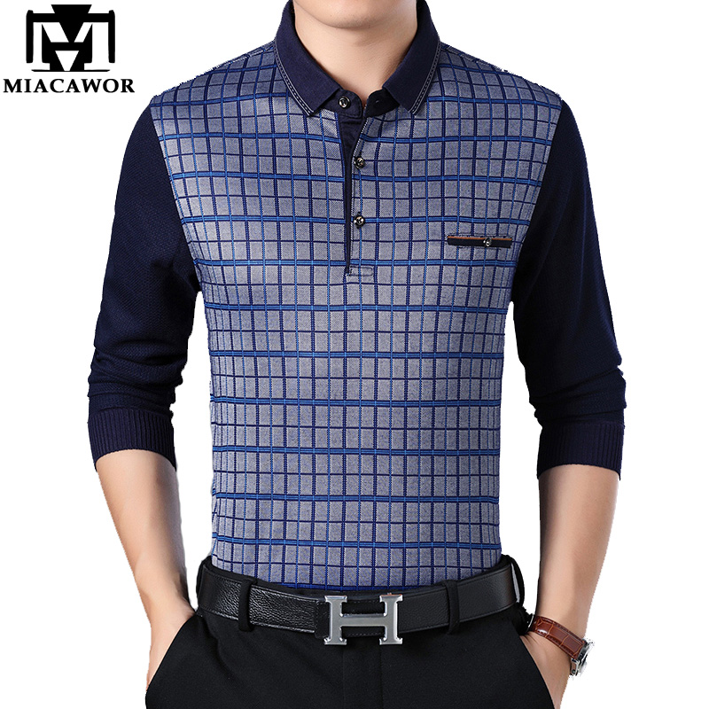 MIACAWOR New Men's   Polo   Fashion Plaid   Polo   Shirt Me Casual Business Camisa   Polo   Masculina Spring Long sleeve Tops TeesT691