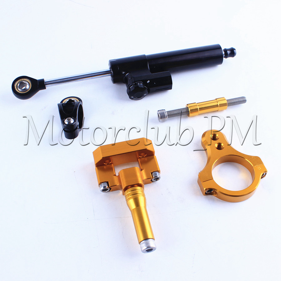 New Motorcycle Steering Damper Stabilizer with Mounting Bracket Kit For Yamaha YZF R3 2014-2016 Gold Aluminum High Quality for ktm 200 duke 2013 2014 390 duke 2014 2015 2016 motorcycle accessories steering damper stabilizer with mounting bracket kit