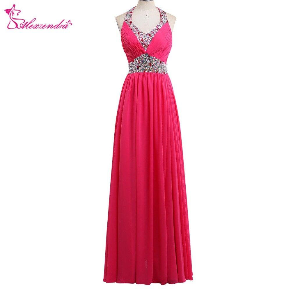 Alexzendra rose mousseline de soie une ligne longue perlée licou Up robes de bal cristaux robe de demoiselle d'honneur robes de soirée robe de soirée