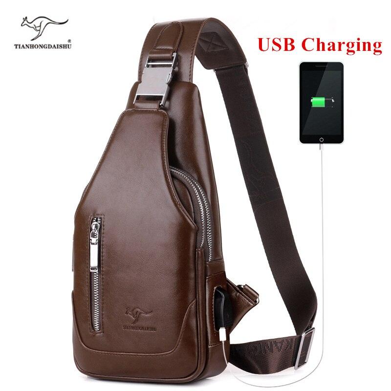 Mann umhängetasche Männer schulter PU leder Brust Taschen Crossbody business Messenger taschen Männlichen lade Handtasche mit USB-Lade