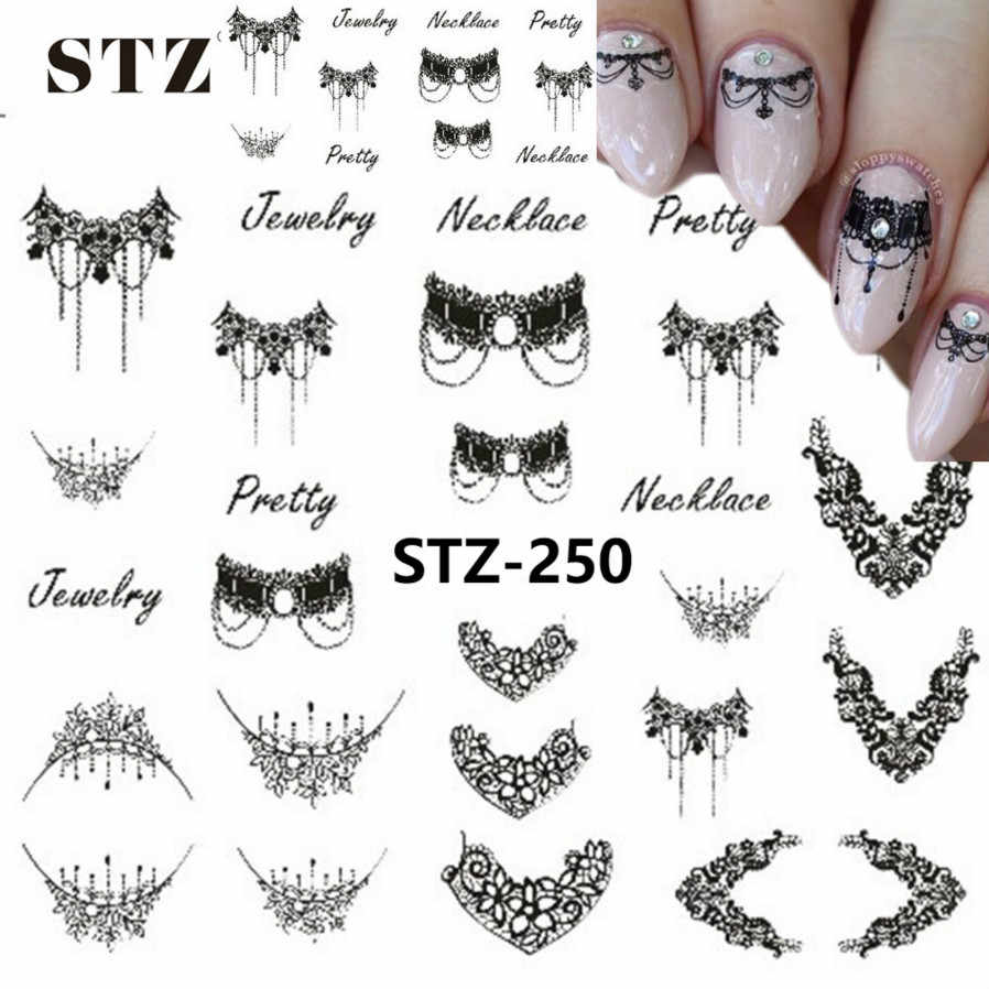 1pcs Smiling Face Snowflake Cartoon Nail Art Sticker Set Black Lace Glitter Flower Water Decal Slider Wraps Decor Manicure Ms211