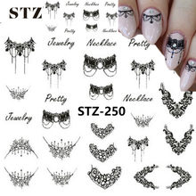 1pcs Lachend Gezicht Sneeuwvlok Cartoon Nail Art Sticker Set Zwart Kant Glitter Bloem Water Decal Slider Wraps Decor Manicure ms211(China)