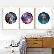 Modern Astronomy Galaxy Canvas Art Print and Poster Home Wall Decor , Set of Three Galaxy Space Canvas Painting Wall Art Picture(China)