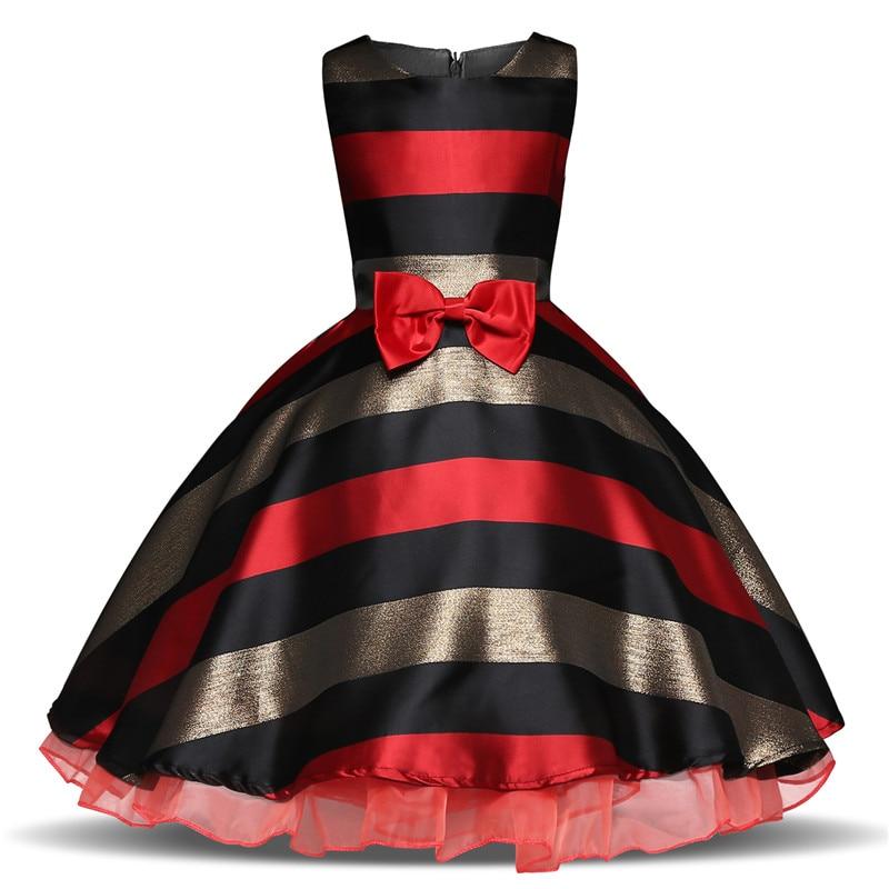 Fancy Striped Girls Dress Kids Summer Frocks For Girl Party Prom Gowns Children Wedding Birthday Outfits Vestidos Infantil 3-10T цена