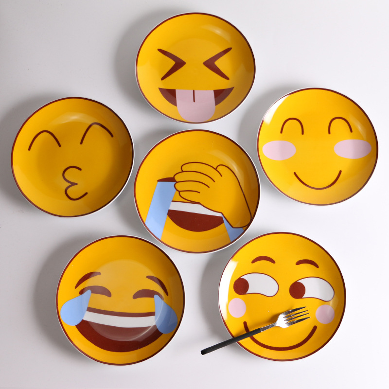 8 Inches Creative Smile Face Lovely Happy Life Style Facial Expression Cartoon Tableware Steak Plate Dinner Plates