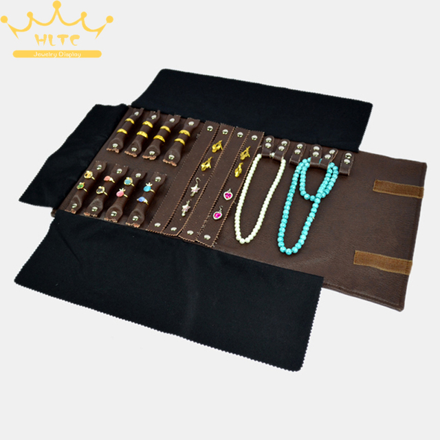 Portable Leather Jewelry Display Set Rolls Travel Organizer Bag