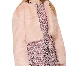 Mujeres Faux Fur Coats lujo Rosa abrigo de piel de invierno Natural señoras  abrigos de piel de conejo chaquetas de manga larga d. 658b856c3501