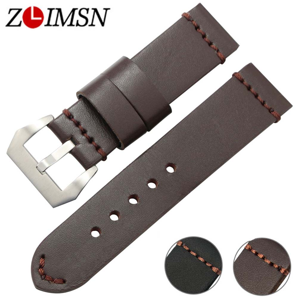 ZLIMSN Thick Genuine Leather Watch Band 22mm 24mm Watch Belt Silver Clasp Stainless Steel Buckle Replacement Watches Accessories zlimsn genuine leather watchband bracelet 24mm 22mm 20mm thick watch strap belt with clasp wristwatch accessories band