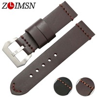 ZLIMSN Mens Thick Leather Watch Bands Strap Watchbands Belt Silver Clasp Stainless Steel Buckle Relogio Replacement