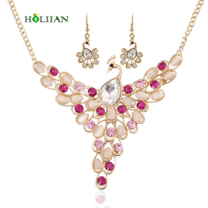 Women crystal peacock jewery set gold pated glass drop earring& necklace set choker collier feme mujer cat eye stone collares