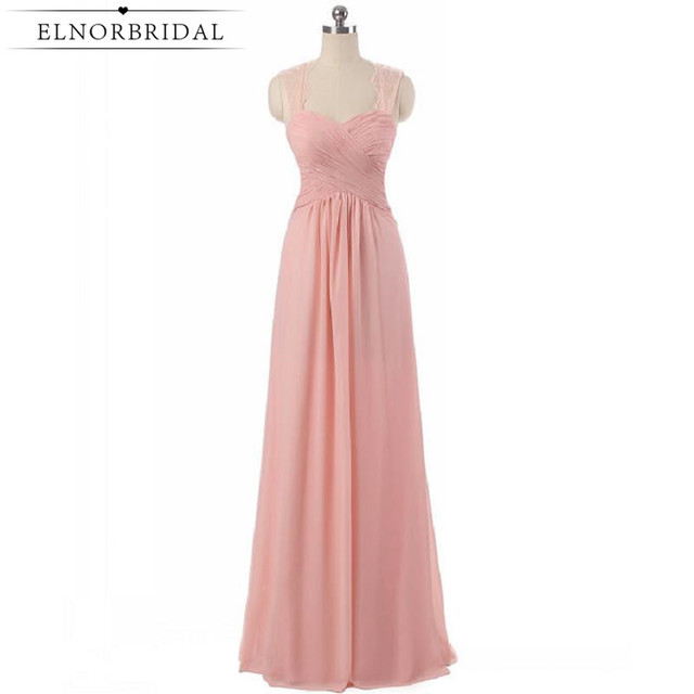 Cheap Pearl Pink Bridesmaid Dresses 2017 Floor Length Plus Size Maid