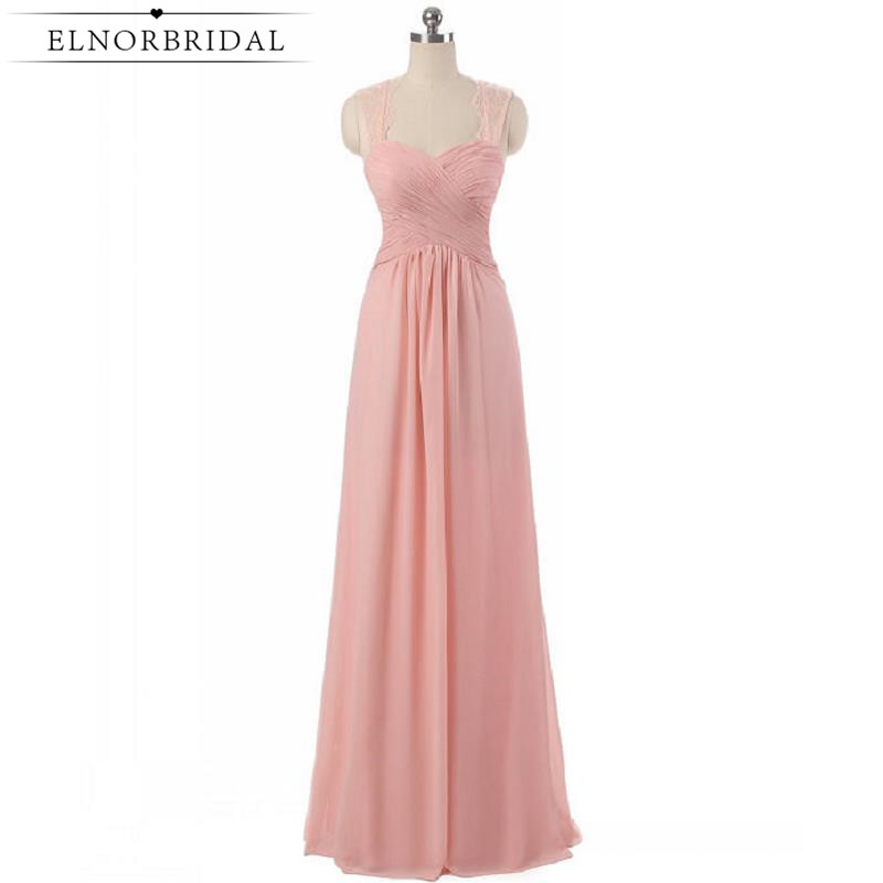 Cheap Pearl Pink   Bridesmaid     Dresses   2019 Floor Length Plus Size Maid Of Honor   Dress   Chiffon Wedding Guest Party Gowns