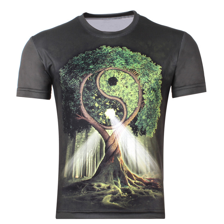 YING YANG TREE 3D-tryck T-shirt Tai Chi Woods Unisex Summer Tee Shirts Plus Forest Designs Korta Casual Homme Loose Toppar