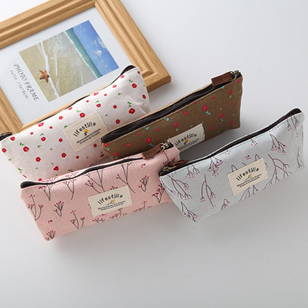 New Arrival Cute Kawaii Floral Flower Canvas Zipper Pencil Cases Lovely Fabric Flower Tree Pen Bags School Supplies