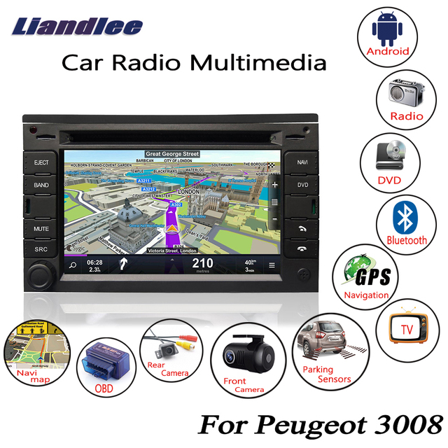 US $380 8 20% OFF|Liandlee For Peugeot 3008 2008~2016 Android Car Radio CD  DVD Player GPS Navi Navigation Maps Camera OBD TV HD Screen Multimedia-in