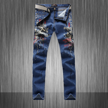 Summer style New famous designer men jeans slim fit skinny hip hop pant rock painted graffiti