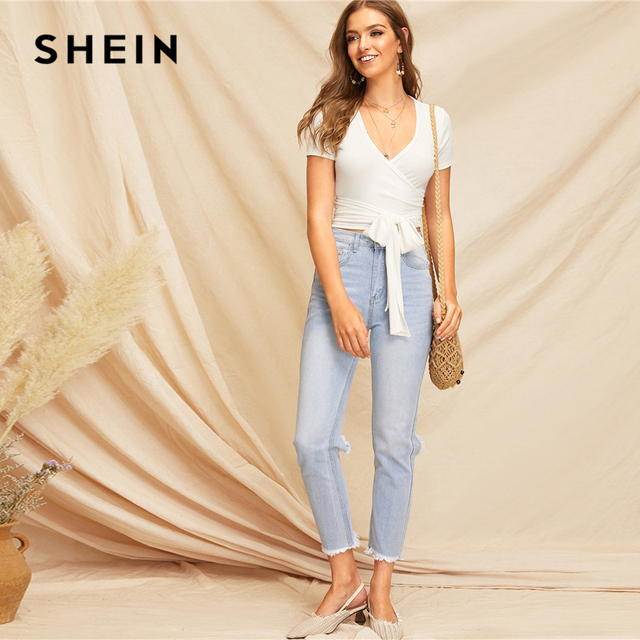 SHEIN Sexy White Deep V Neck Crop Wrap Belted Slim Fitted Top Solid T Shirt Women Summer Elegant 2019 Short Sleeve Tshirt Tops 3