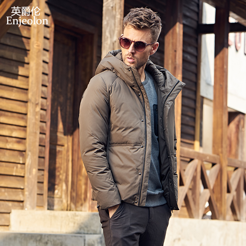 Enjeolon marque épaississent hiver vers le bas veste hommes à capuche lumière vêtements noir armée vert manteau plus taille 3XL vers le bas parka MF0111