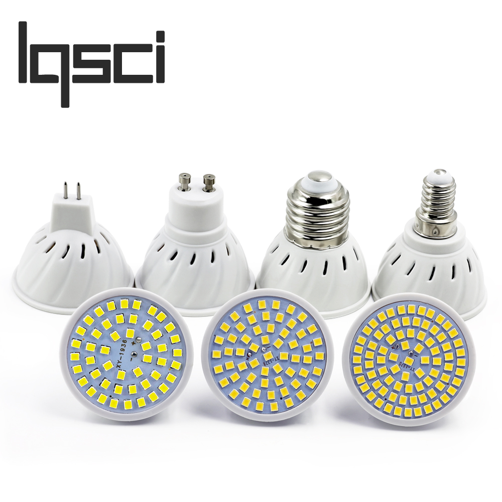 LQsci LED Spotlight GU10 E27 MR16 E14 GU5.3 Led Lamp 220V 3528SMD 48 60 80 Leds cool White BULB Warm White LED Lighting mr beams светильник mr beams spotlight led на батареях с сенсорами корпус белый
