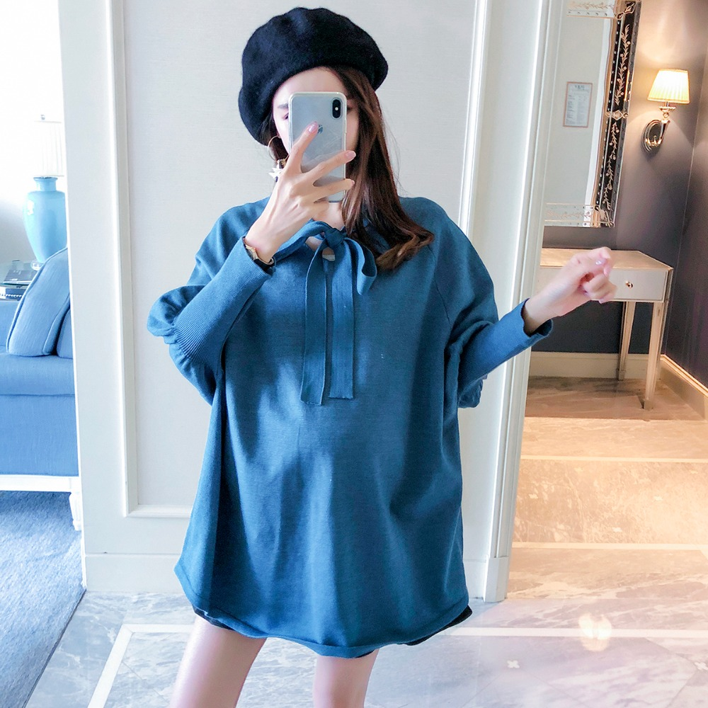 Pregnant women sweater autumn and winter 2018 new fashion small fragrance loose maternity dress out long-sleeved lace top american new 2018 summer maternity loose flare sleeve hollow out lace dress pregnant women casual middle long dress clothing hot