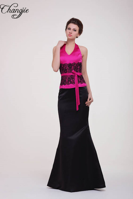 Vestidos de fiesta fucsia con negro