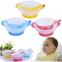 Cartoon Toddler Baby Kids Child Feeding Lid Bowl with Spoon Binaural Tableware Plate Sucker Bowl Bowl kids food grade silicone