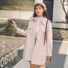 Осенне-зимняя Дамская обувь шерстяные пальто куртки Женский Однобортный карман рубашки с длинным пальто манто Femme Hiver воротник-поло