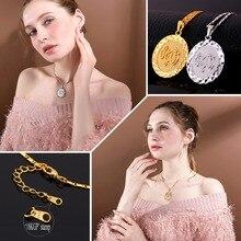 Collar islámico U7 para hombre y mujer, de Color plateado/dorado, con diseño redondo Vintage, Medalla musulmana, colgantes redondos y collares P618