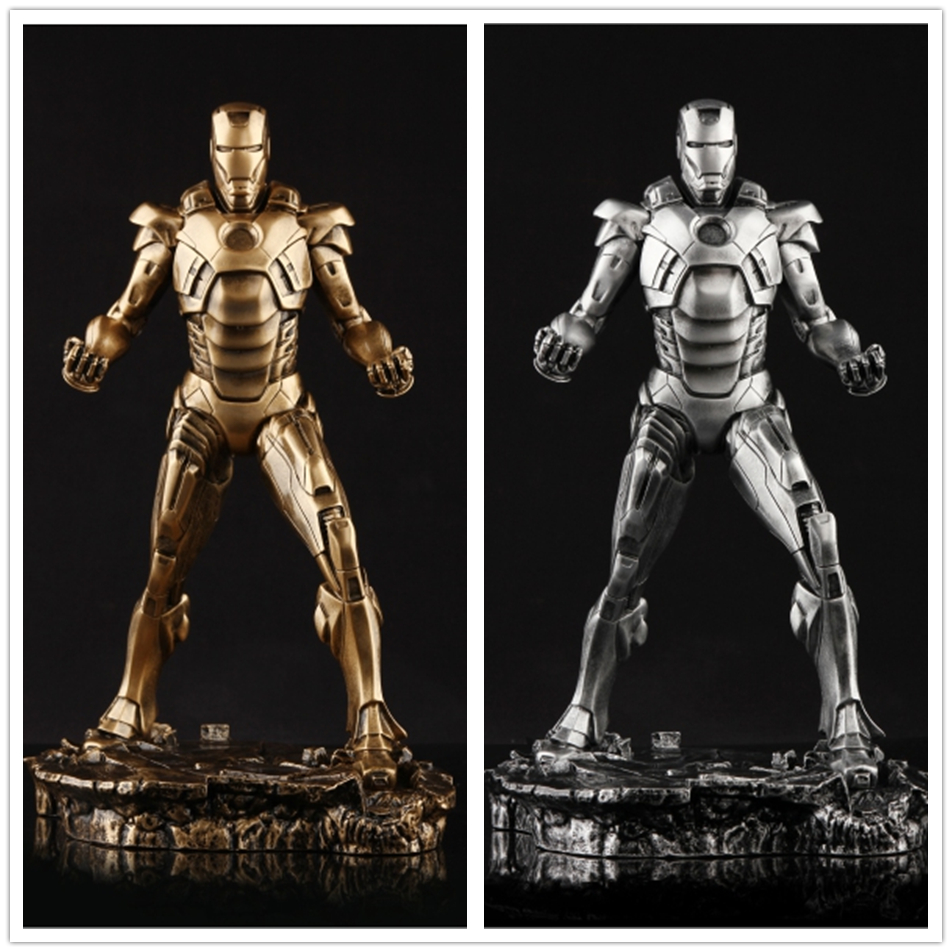 SAINTGI Iron Man 3 MARK 7 statue metal Action Figure Gold Edition The Avengers Anime Marvel MK42 Toy Classic Collection 30cm xinduplan marvel shield iron man avengers age of ultron mk45 limited edition human face movable action figure 30cm model 0778
