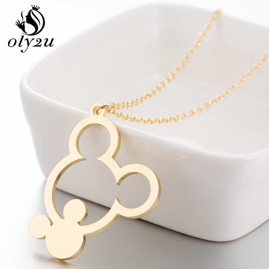 Oly2u Mouse Mickey Necklace For Women Pendants Necklaces Long Chain Choker Necklace Stainless Steel Pendant collier femme