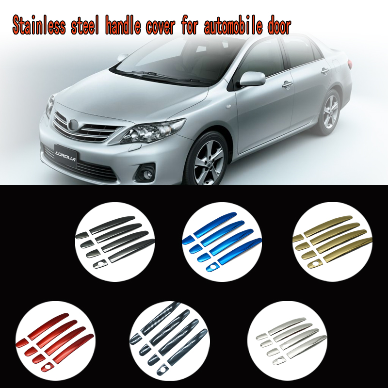 karcng 9 pcs for Car door handle cover stainless steel Chrome decorative sticker For <font><b>Toyota</b></font> <font><b>Corolla</b></font> <font><b>E140</b></font> <font><b>E150</b></font> 2007 - 2013 image