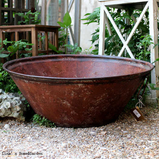 Copper Tone Aged Finish Large Pot Vintage Bowl Flower Planter with Handles