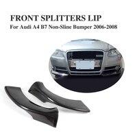 Углеродного волокна передняя губа разветвители фартук клапанами для Audi A4 B7 не sline бампера 2006 2008 2 шт./компл.