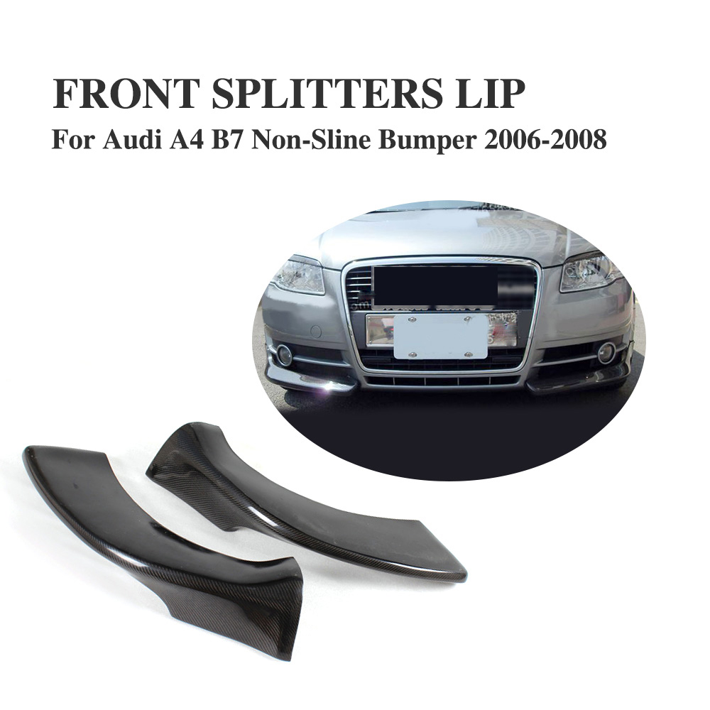 Carbon Fiber Front Lip Splitters Apron Flaps for Audi A4 B7 Non-Sline Bumper 2006-2008 2PCS/Set baby hairband crystal tiara hairband kid girl bridal princess prom crown party accessiories princess prom crown headband
