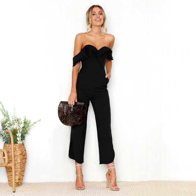 Sexy Backless Strapless Black Jumpsuit Solid Off Shoulder Tiered Ruffle Womens Rompers Holiday Casual Ladies Summer Overalls