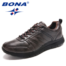 BONA New Arrival Popular Style Men Casual Shoes Lace Up Men Flats Microfiber Men Shoes Comfortable Light Soft Fast Free Shipping