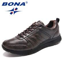 BONA zapatos planos de microfibra para hombre, calzado informal de estilo Popular, con cordones, cómodos y ligeros, envío rápido