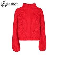 Sishot Женская Повседневная вязаная одежда 2017 Осень Красный плотная короткий пуловер o Круглый воротник Длинные рукава модная зимняя одежда повседневное мини-пуловеры