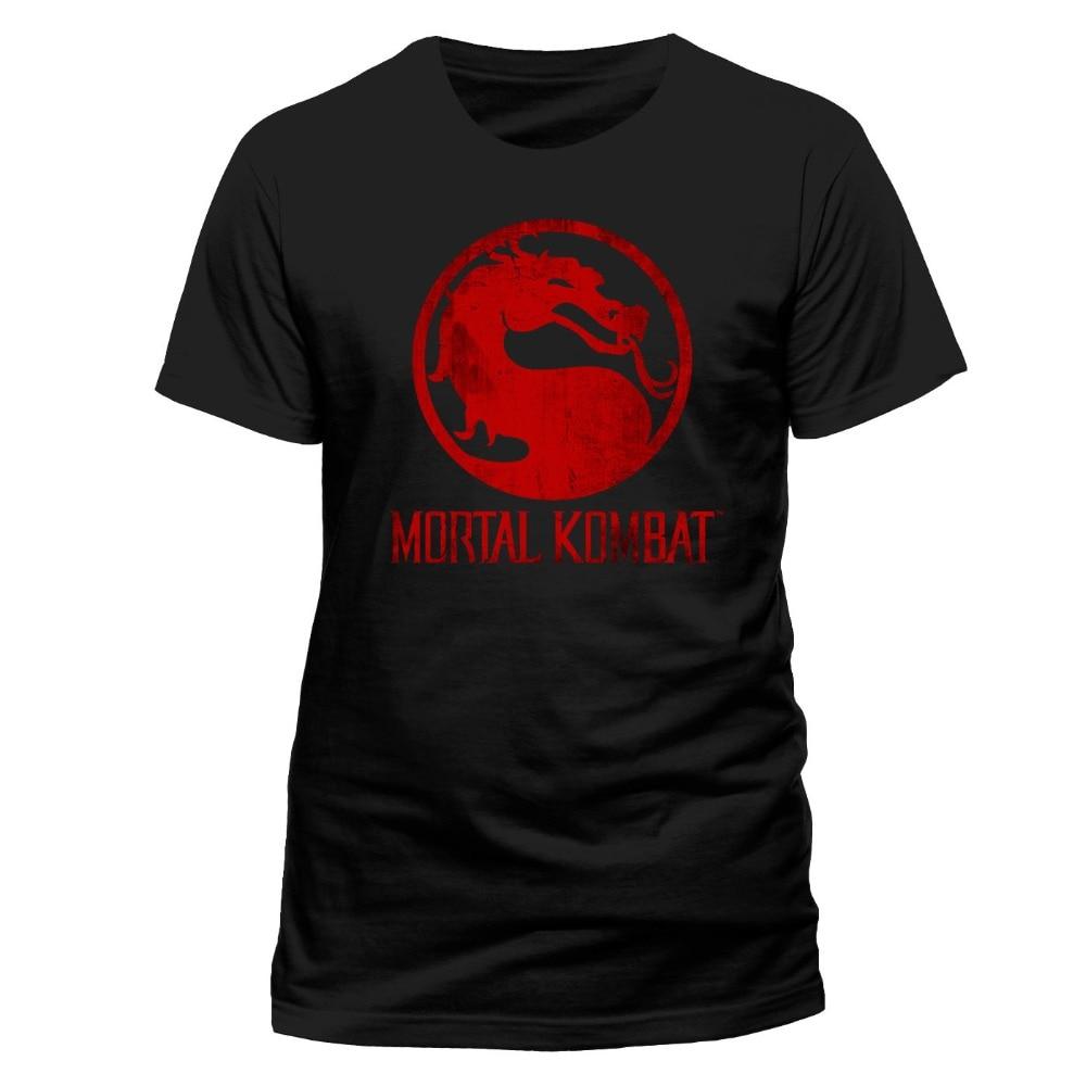Summer 2018 New Mortal Kombat Mens T-Shirt Top Licensed Merchandise Distressed Logo XXL Anime Casual Clothing